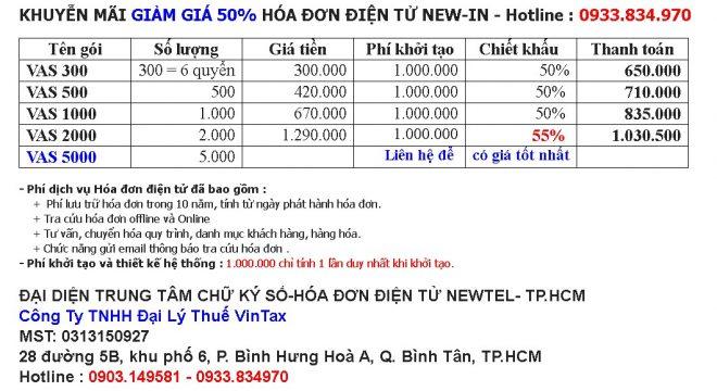 Bảng giá hóa đơn điện tử NEWIN