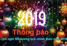 Lịch nghỉ tết dương lịch chính thức năm 2019