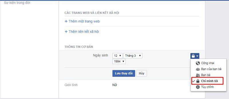 Cách ẩn ngày sinh trên facebook thật đơn giản 4