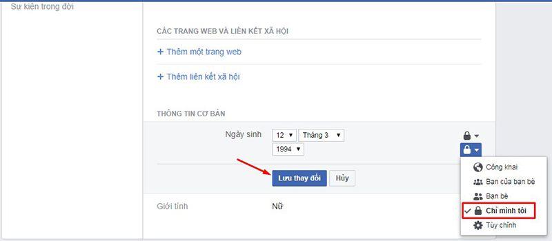 Cách ẩn ngày sinh trên facebook thật đơn giản 5