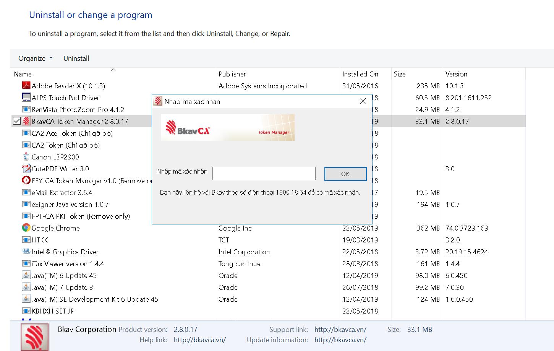 Yêu cầu mã xác nhận để gỡ bỏ BKAV token manager