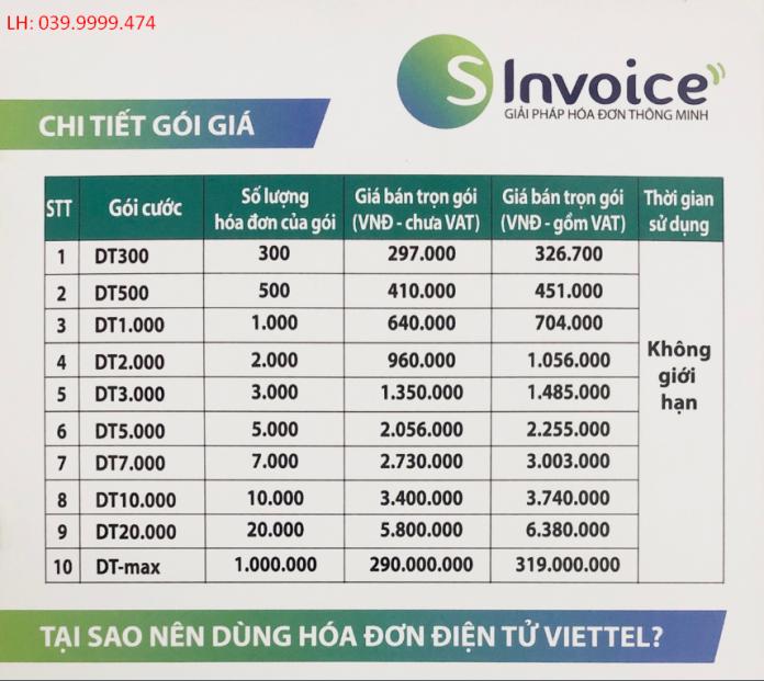 bảng giá hóa đơn điện tử viettel - sinvoice